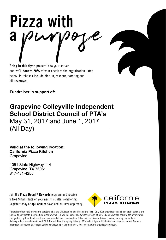 May 31 & June 1: California Pizza Kitchen Fundraiser – GCISD Council ...