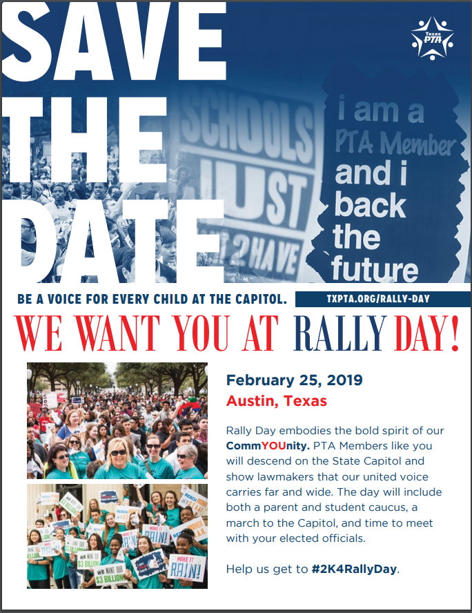 Feb  25: Rally Day – Texas PTA – GCISD Council of PTAs